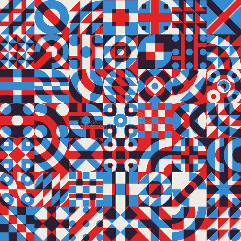 Vector Seamless Blue Red White Color Overlay Irregular Geometric Blocks Quilt Pattern. Abstract Background stock illustration