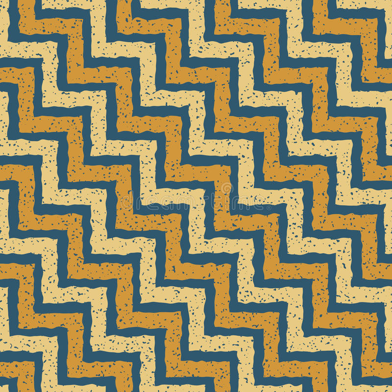Vector Seamless Blue Yellow Color Hand Drawn ZigZag Distorted Step Lines Grungy Retro Chevron Pattern vector illustration