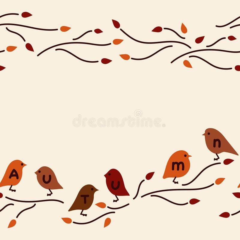 Vector seamless border. Cute birds on the branches, doodles stock illustration