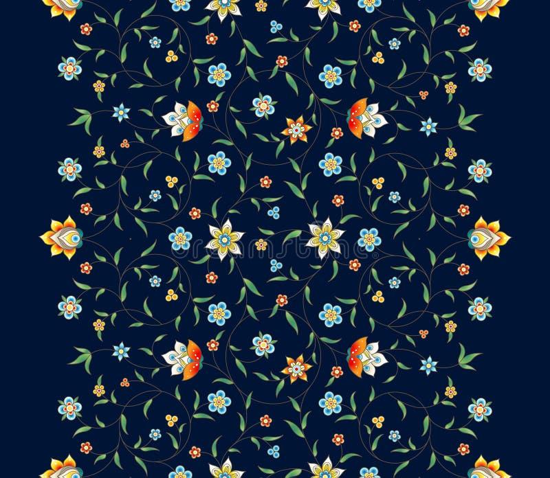 Vector seamless border in Eastern style. Vector vintage decor; ornate seamless border on dark backdrop for design template. Eastern style element. Premium stock illustration