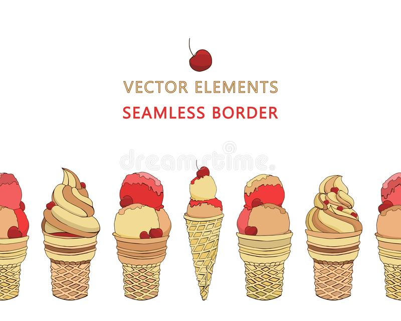Vector seamless border of hand drawn ice creams in waffle cones. Vector elements in yellow beige creamy red rose colors. Isolated on a white background. Summer vector illustration