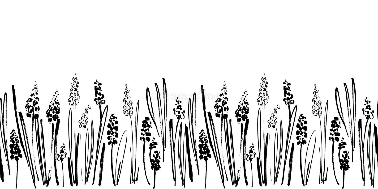 Vector seamless border with ink drawing hyacinths, herbs and flowers, monochrome artistic botanical illustration. Floral elements, hand drawn repeatable vector illustration