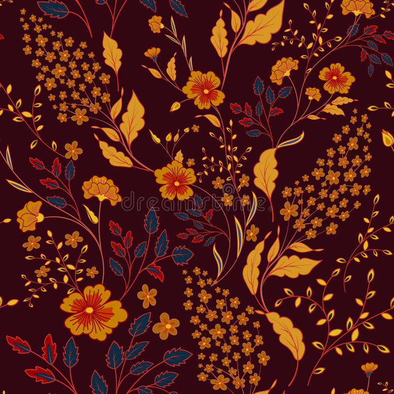 Free Vector Seamless Bright Colorful Gentle Hand Drawn Little Ditsy Flower Pattern. Bright Floral Allover Print On Black Stock Images - 95710474