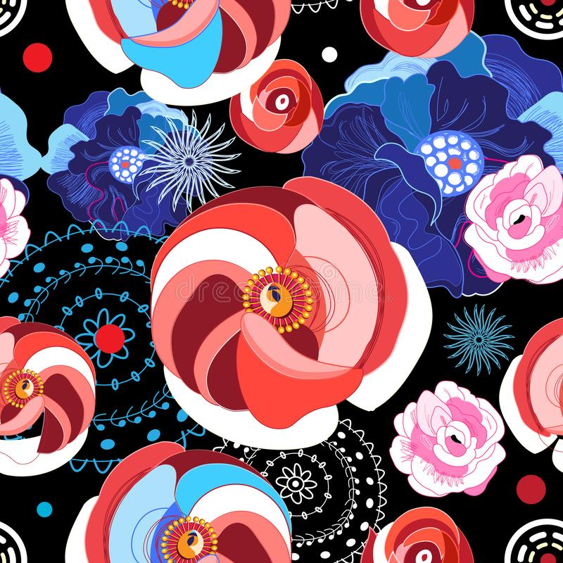Vector seamless bright pattern of different flowers royalty free illustration