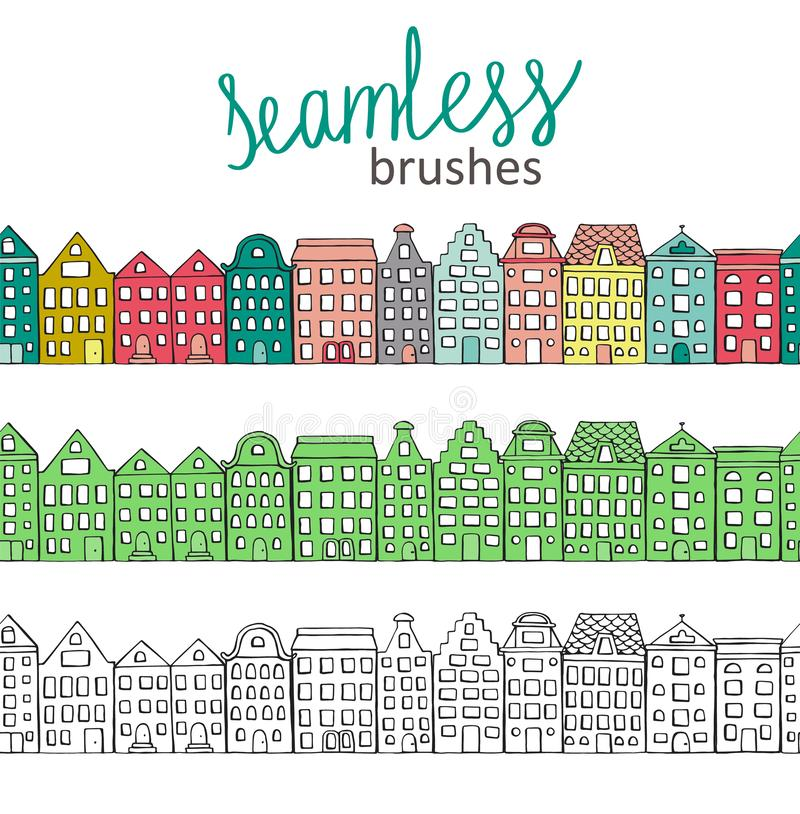 Vector seamless brushes with cute colorful, green and black and white houses stock illustration