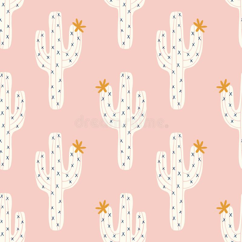 Vector seamless cactus pattern with white cactus and golen blooms on a pink background stock illustration