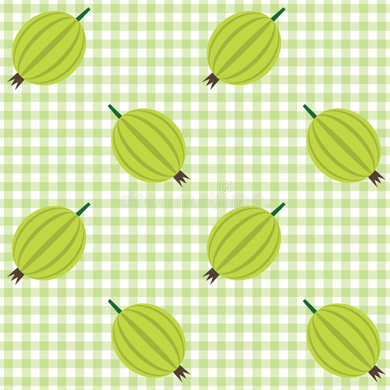 Download Checked Pattern With Gooseberry Stock Vector - Illustration of fruit, background: 30205616