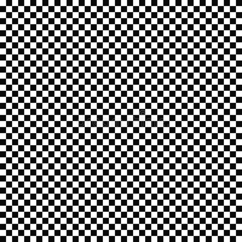 Vector seamless checkered flag pattern. Geometric texture. Black-and-white background. Monochrome design. stock illustration