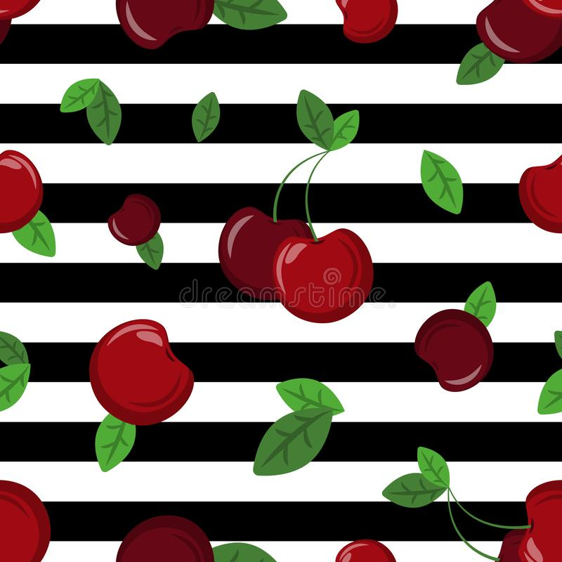 Vector seamless cherry pattern on white background with black stripes.. stock illustration