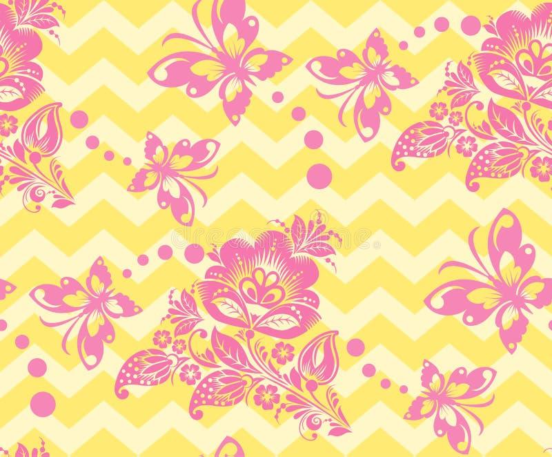Vector Seamless chevron floral Background vector illustration