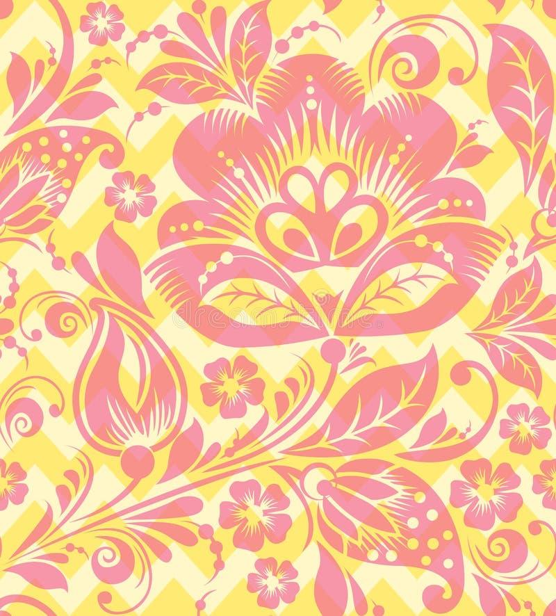 Vector Seamless chevron floral Background stock illustration