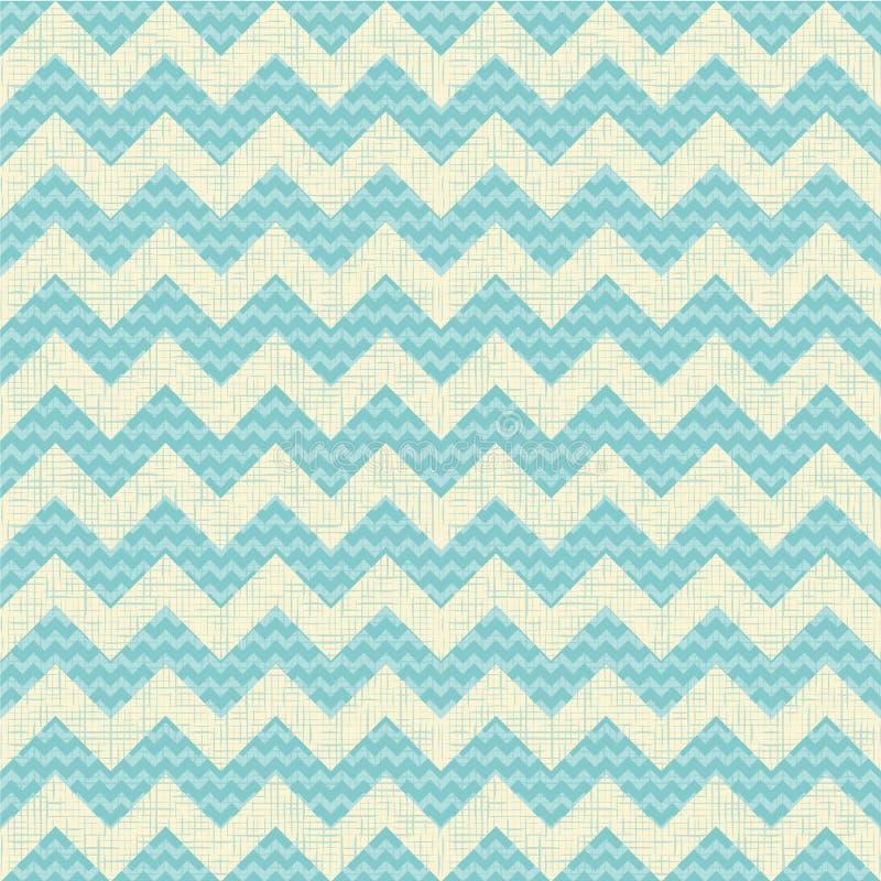 Vector Seamless chevron pattern on linen turquoise royalty free illustration