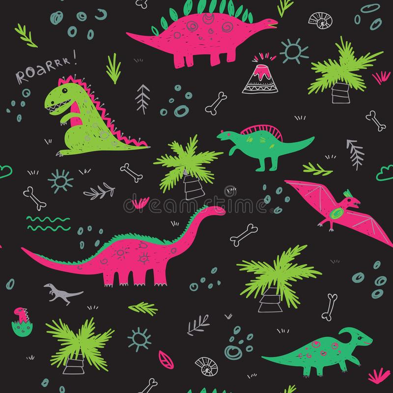 Vector seamless childish pattern with colorful dinosaurs black b. Vector seamless childish pattern with colorful dinosaurs, vulcan, palm tree, shell on black stock illustration