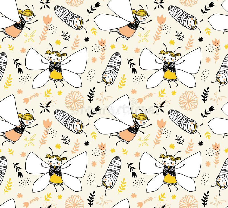 Vector seamless childlike pattern with butterflies. Fabric design. vector illustration