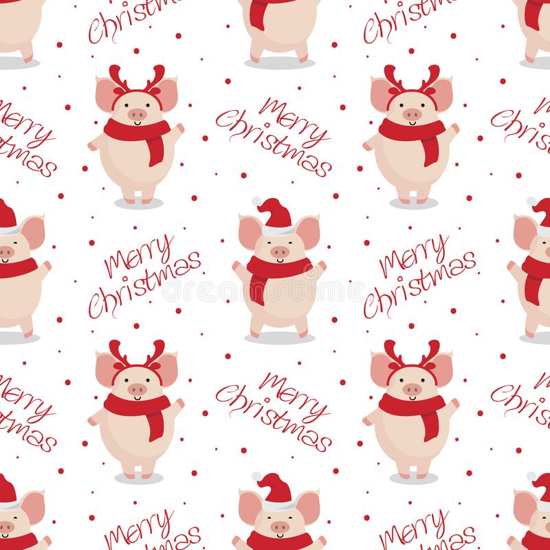 Vector seamless christmas pattern. Cute cartoon pigs on white background. royalty free illustration