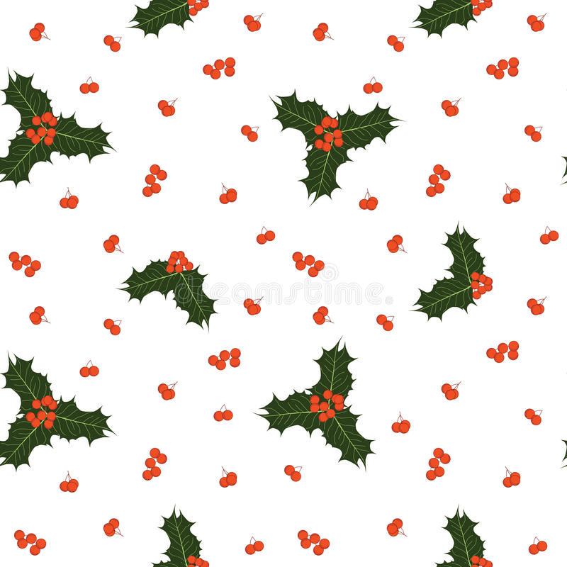 Vector seamless christmas pattern with holly berries and leaves royalty free stock images