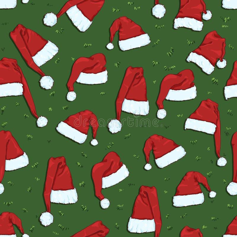 Vector Seamless Christmas Pattern of Santa Hats. On Green Background vector illustration