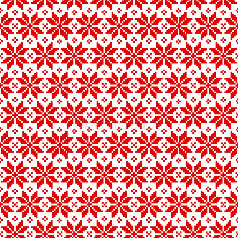 Vector seamless Christmas pattern for sweater with red elements on white background. stock illustration