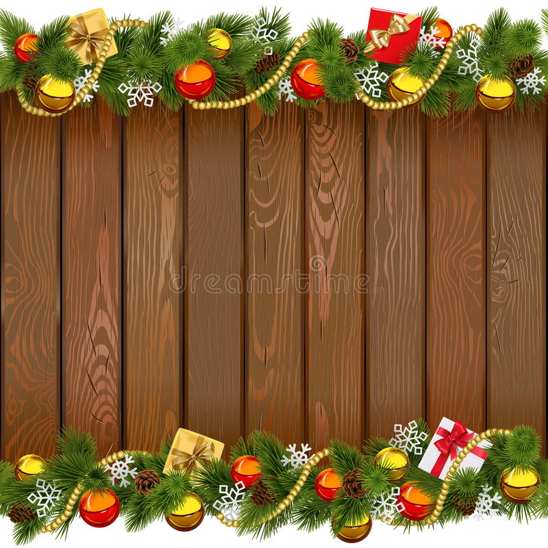 Vector Seamless Christmas Wooden Board. Isolated on white background stock illustration