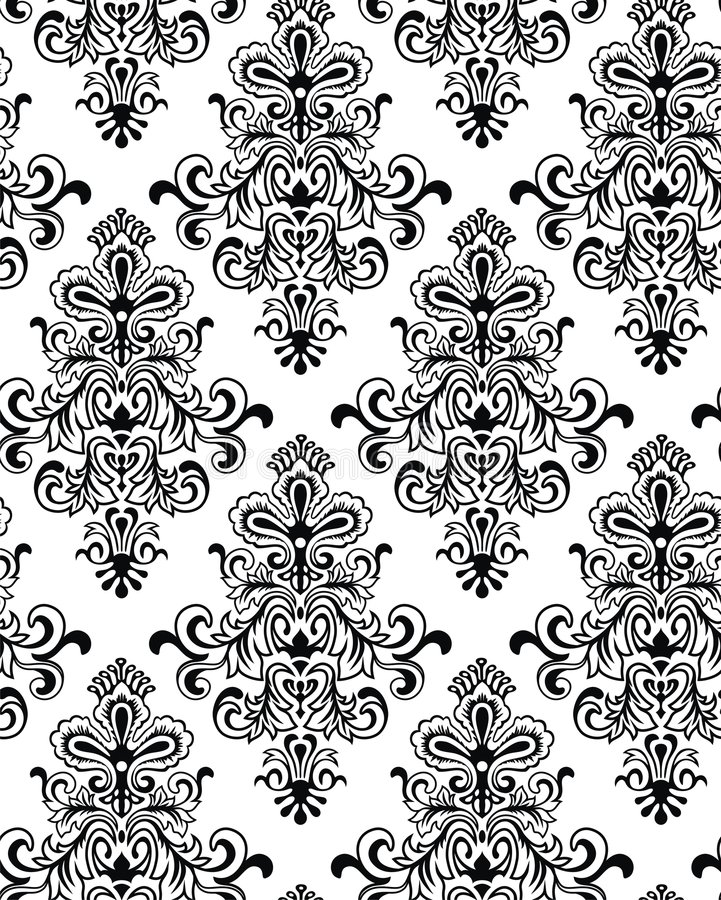 Vector. Seamless Classicism Wallpaper. Seamless Classicism Black/White Wallpaper vector illustration