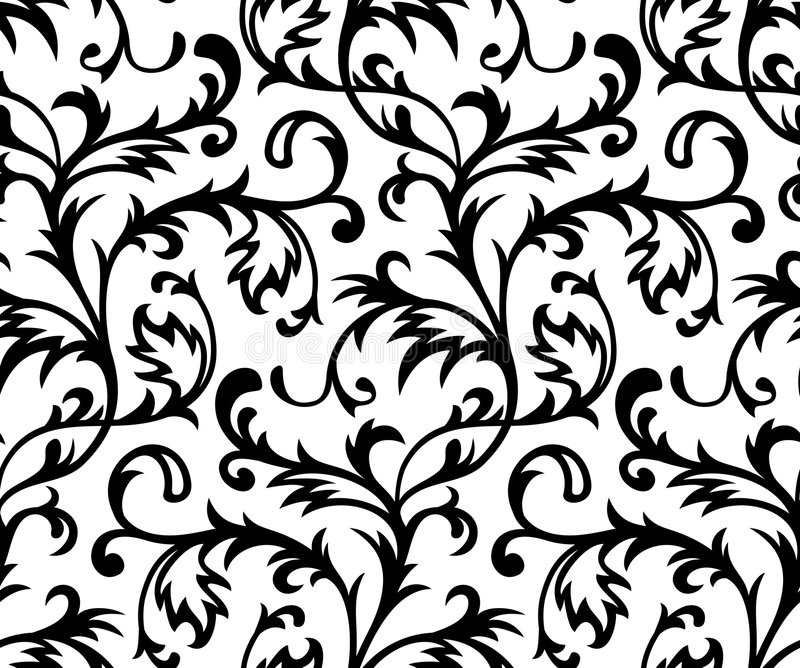 Vector. Seamless Classicism Wallpaper. Seamless Classicism Black and Wite Wallpaper stock illustration