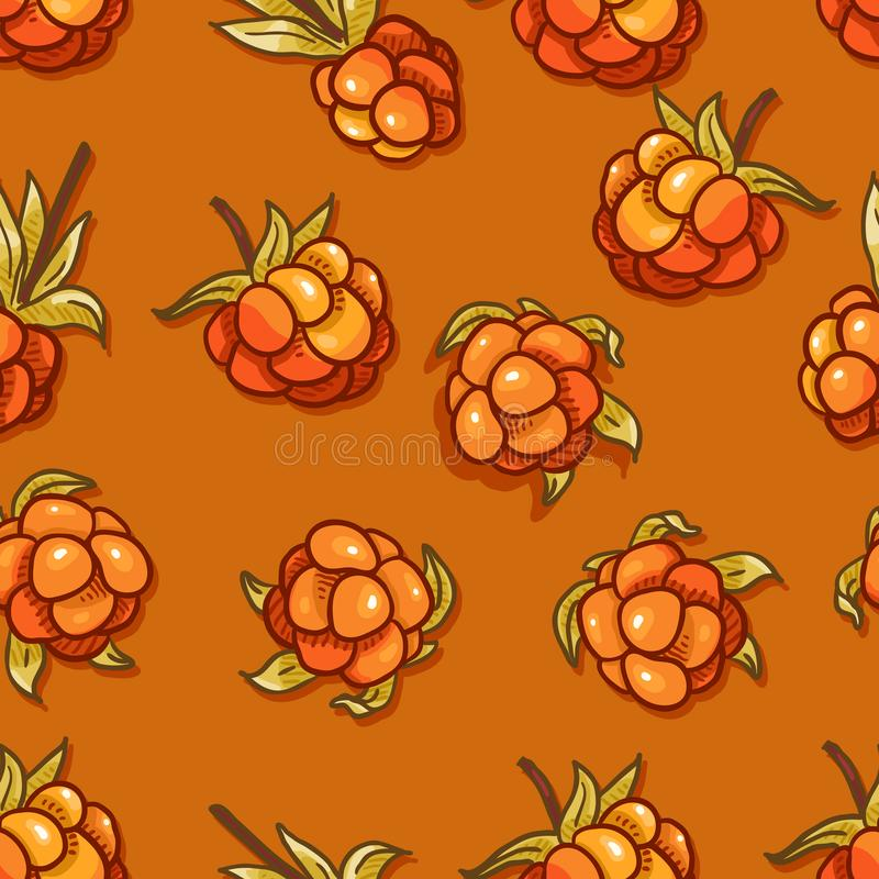 Vector Seamless of Cloudberries stock illustration