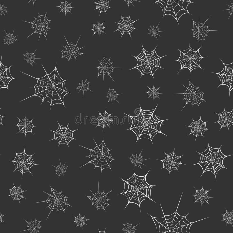 Vector seamless cobweb pattern on dark backdrop. line art of spider web for halloween. Scary spider web background template. white royalty free illustration