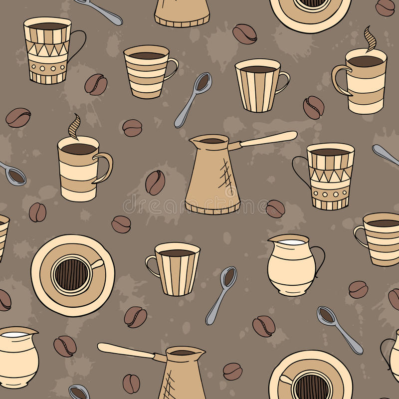 Vector seamless coffee pattern stock image