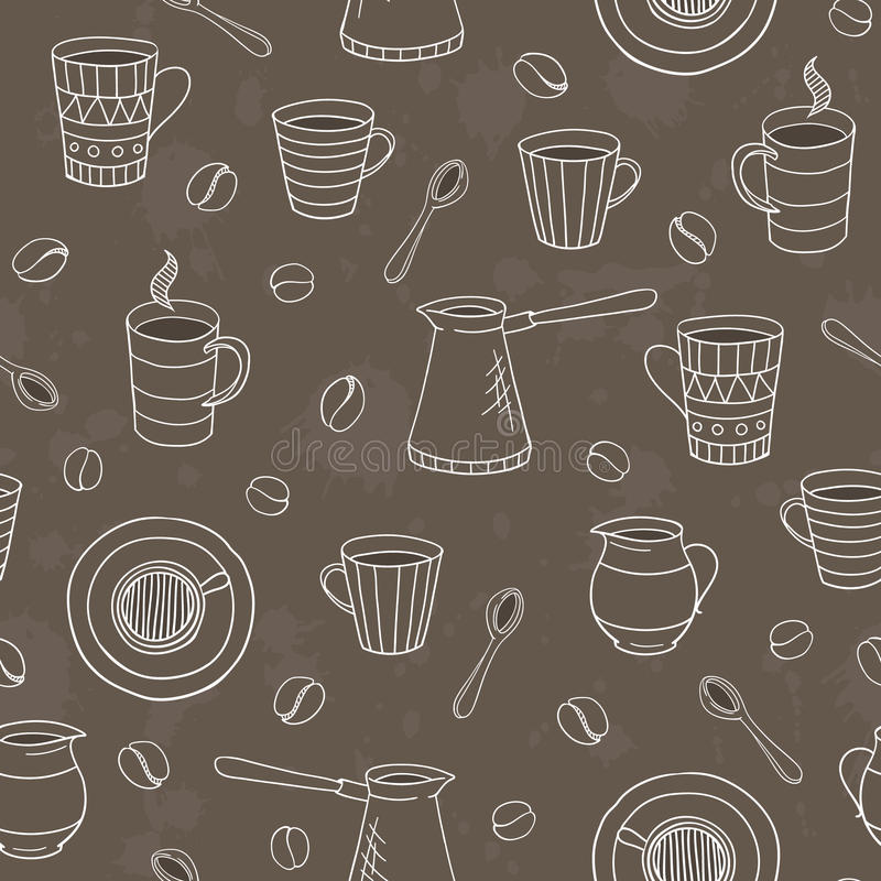 Vector seamless coffee pattern royalty free stock image