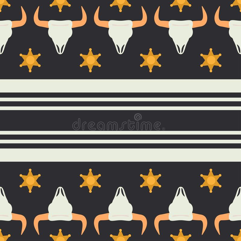 Vector seamless color pattern with simplified buffalo skull, sheriff star and stripes. Wild west cowboy symbolic textile royalty free illustration