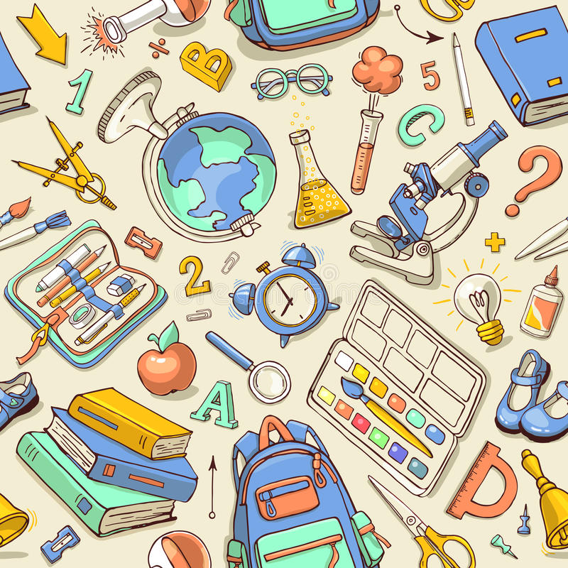 Vector seamless color pattern of sketchy school supplies. royalty free illustration