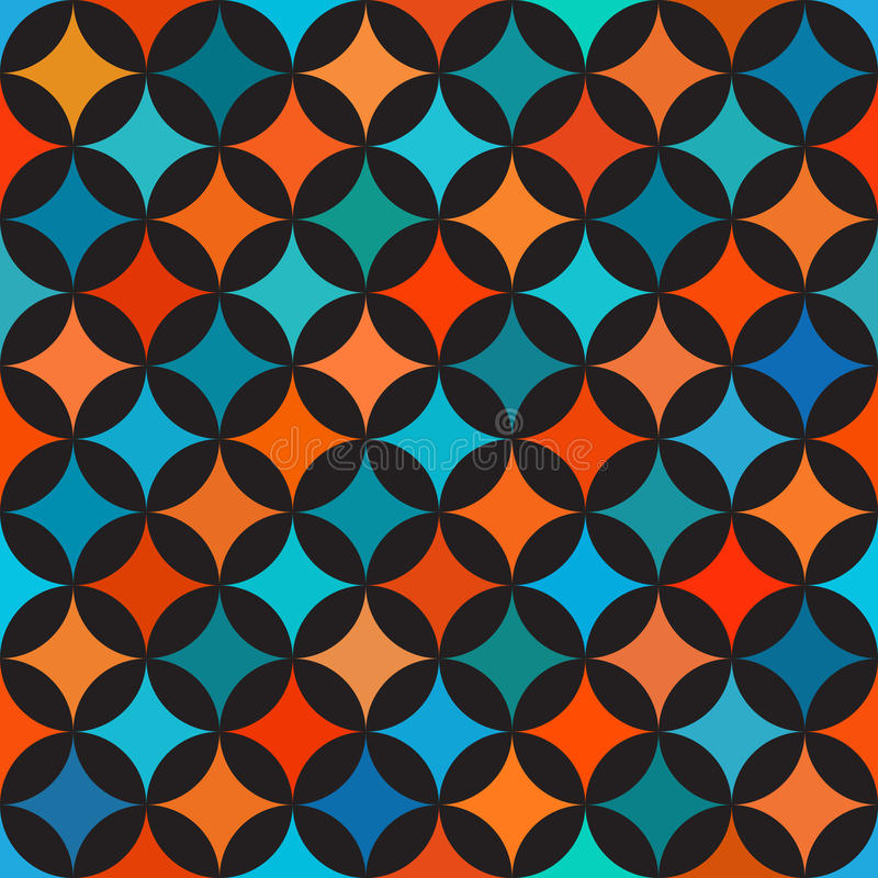 Vector Seamless Colorful Blue Orange Shades Circle Star Quilt Tiling ...
