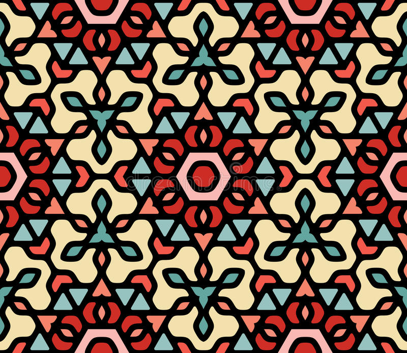 Vector Seamless Colorful Blue Red White Rounded Floral Oriental Hexagonal Mandala Pattern. Abstract Background stock illustration