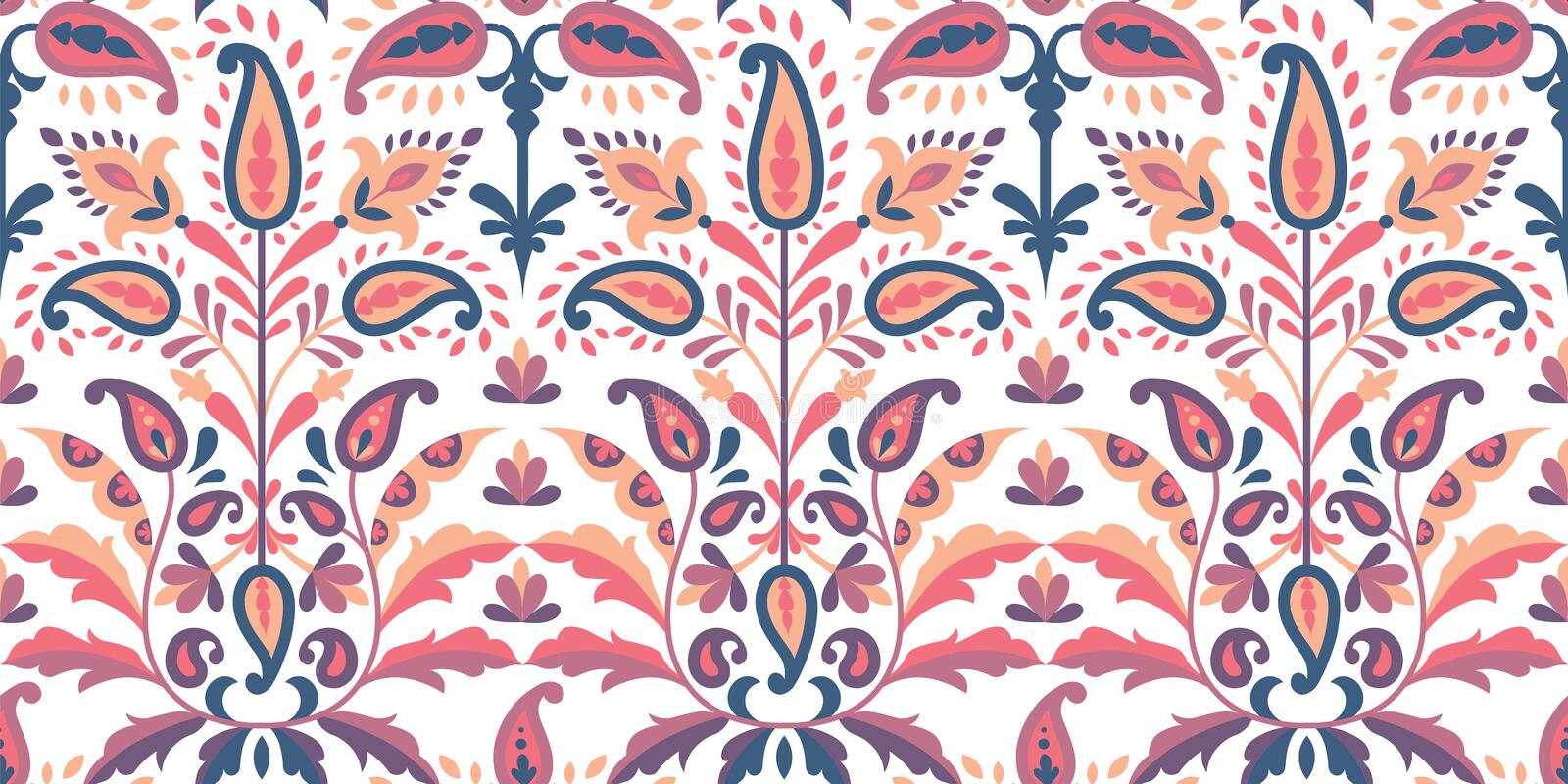 Vector seamless colorful pattern in paisley style. Vintage decorative background. Hand drawn ornament. Oriental bohemian vector illustration