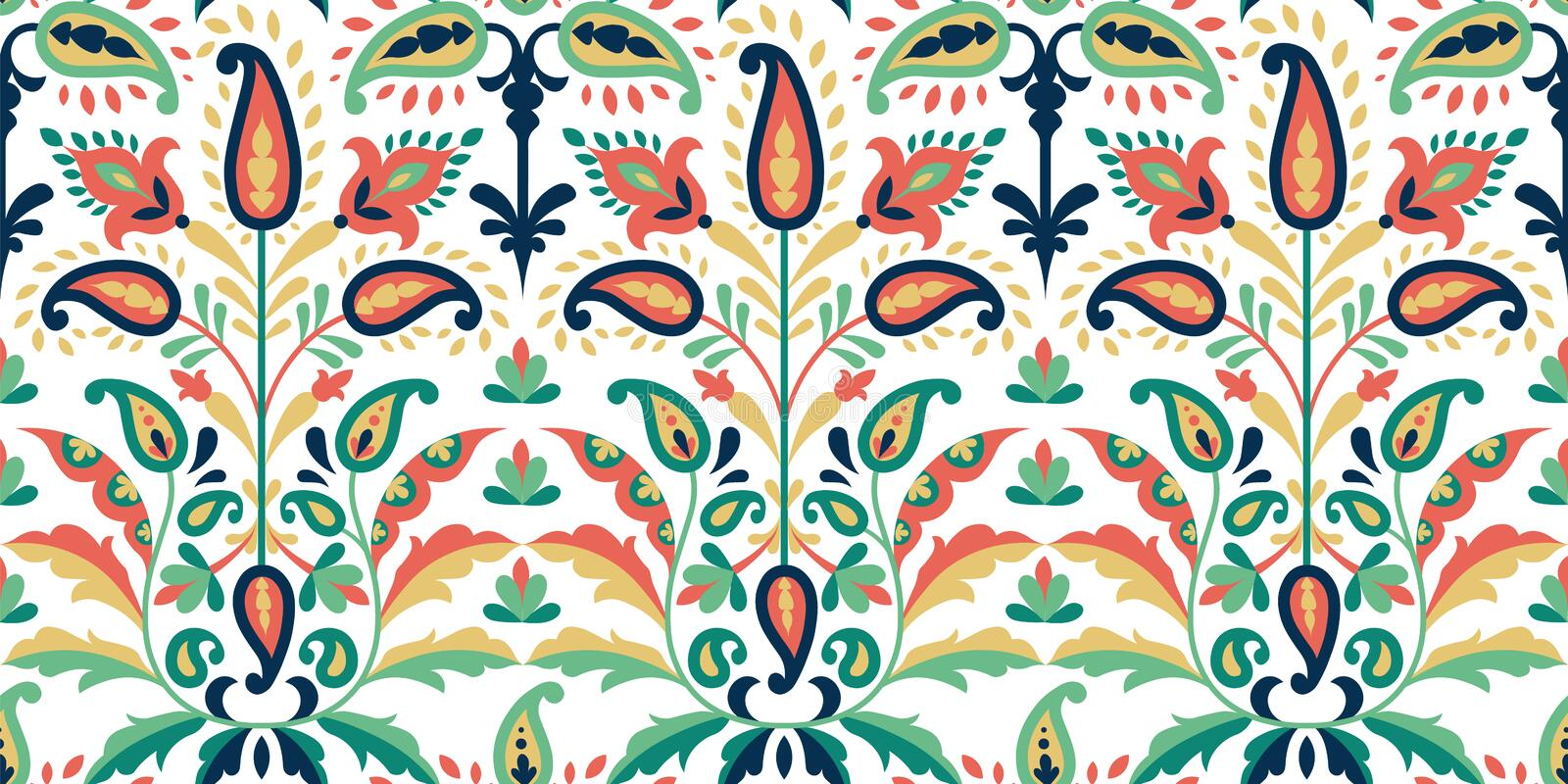 Vector seamless colorful pattern in paisley style. Vintage decorative background. Hand drawn ornament. Oriental bohemian stock illustration