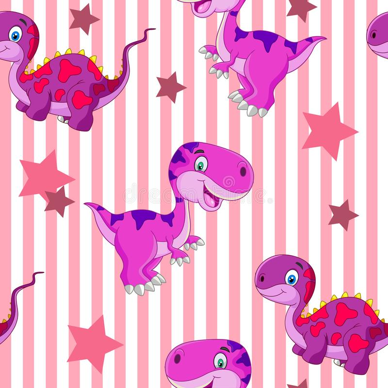 Free Vector Seamless Cute Graphical Cartoon Dinosaur Pattern. Childhood Design. Stock Images - 104794834