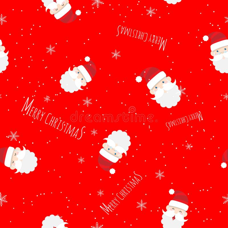Vector seamless cute Santa Claus cartoon with text Merry Christmas pattern on red background for Christmas wallpaper background 皇族释放例证