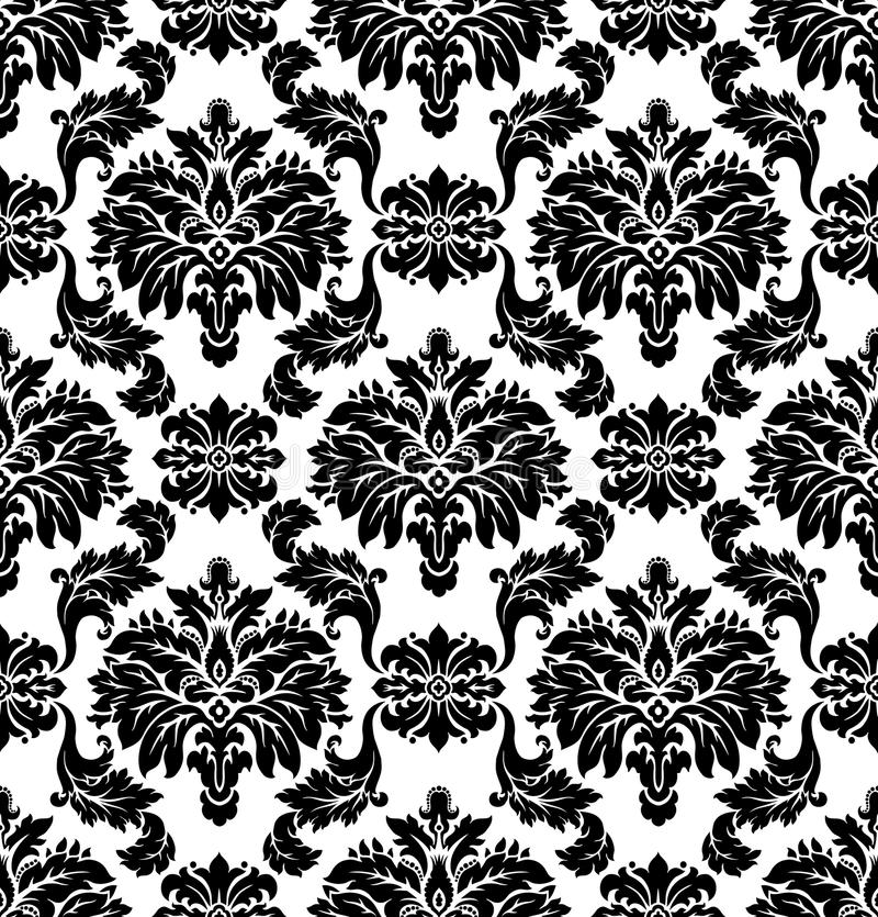 Vector. Seamless damask pattern. Black and white illustration royalty free illustration