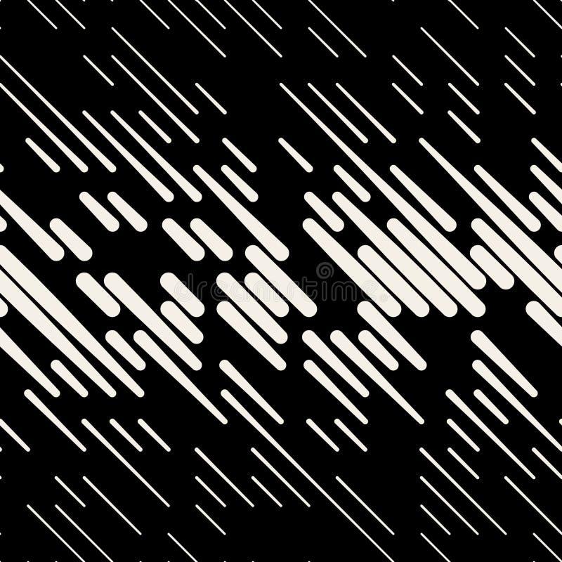 Vector Seamless Dash Diagonal Parallel Line Halfton Pattern. Vector Seamless Black & White Random Dash Diagonal Parallel Line Halfton Pattern Background royalty free illustration