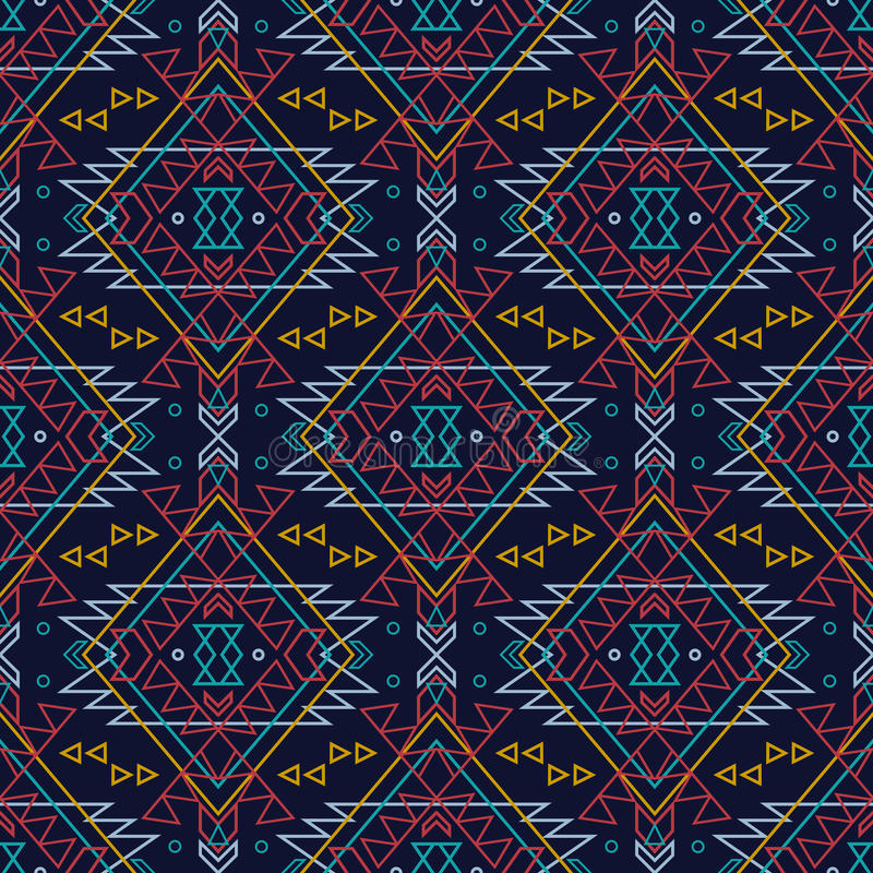 Vector seamless decorative ethnic pattern. American indian motifs royalty free illustration