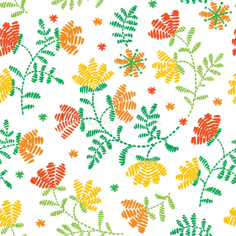 Vector seamless decorative floral embroidery pattern, ornament for textile decor. Ethnic handmade trendy style vector illustration