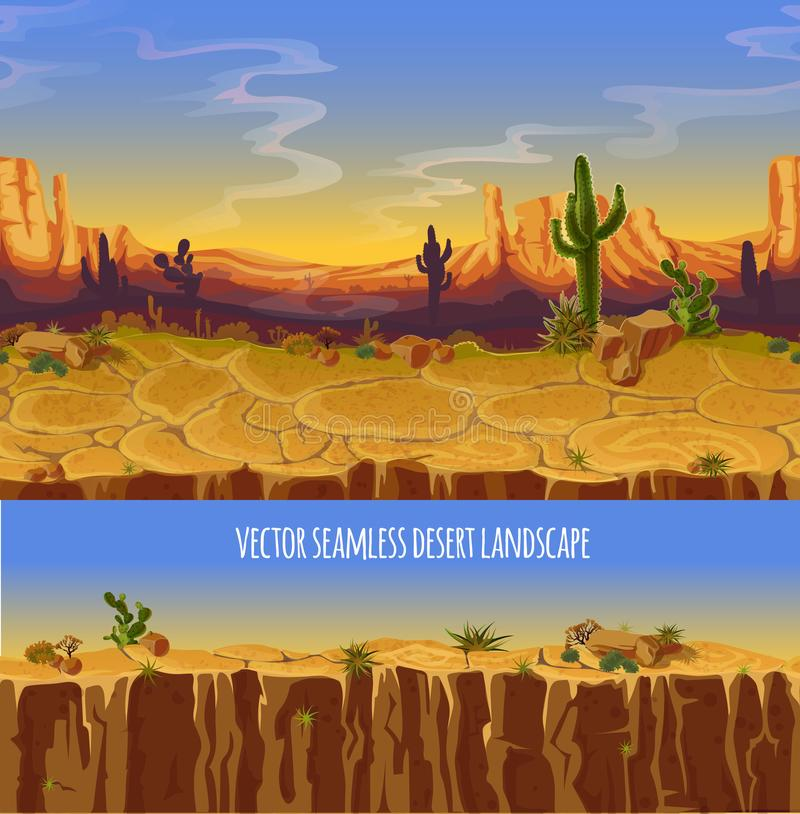 Vector seamless desert landscape. Game cartoon banner. Vector seamless desert landscape. Cartoon poster, banner for game. Background, panorama with wild nature royalty free illustration