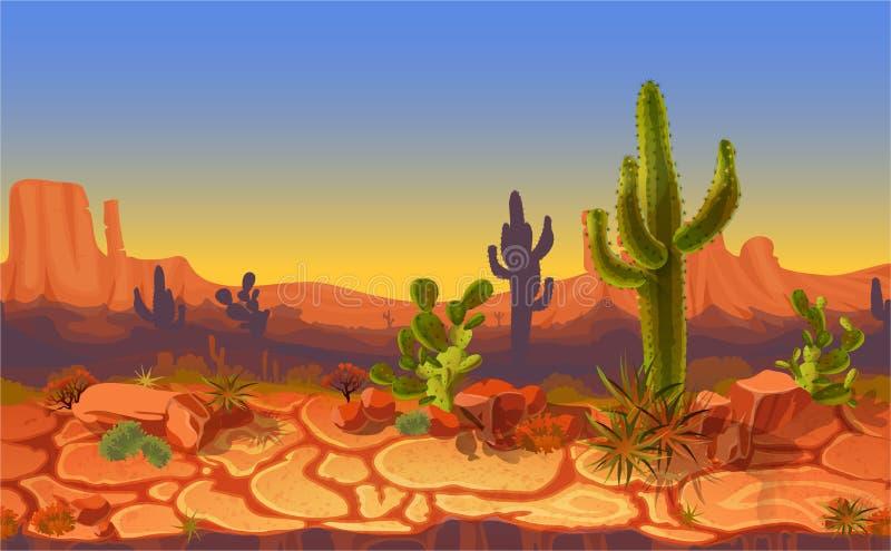 Vector seamless desert horizontal landscape royalty free illustration