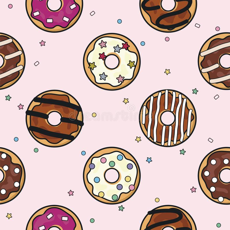 Vector seamless donut background pattern stock illustration
