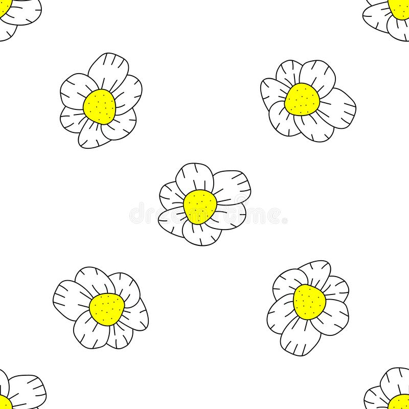 Vector Seamless Doodle Floral Pattern on white background 皇族释放例证