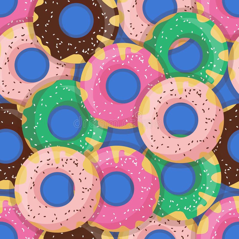 Vector seamless doughnut or donut pattern. Design for cards, menu, textile, fabric. Glazed sweets with chocolate, vanilla, strawberry and mint cream stock illustration