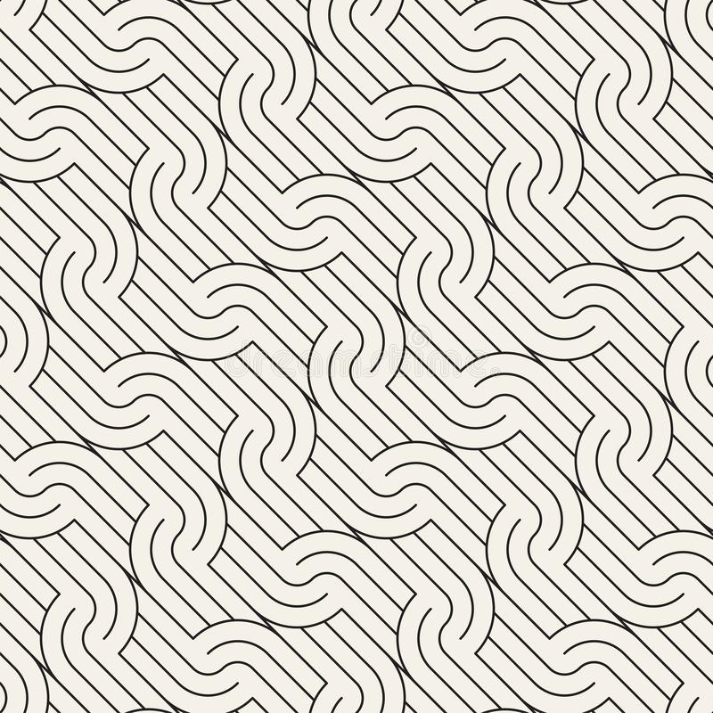 Vector seamless pattern. Geometric rounded stripes ornament. Simple slanted wavy lines background. stock illustration