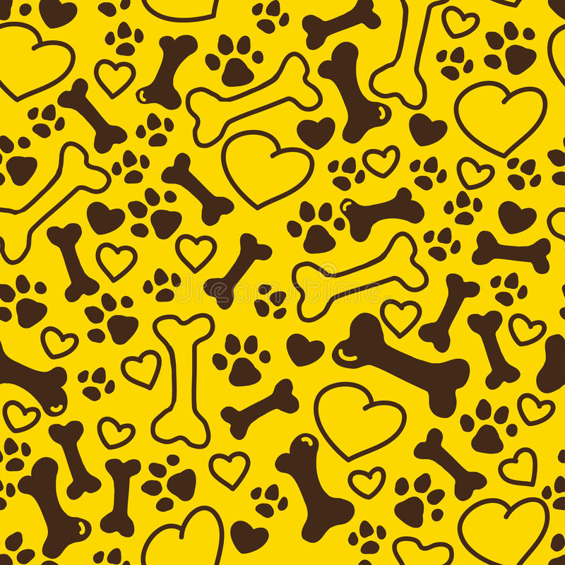 Vector seamless flat hand drawn dog pattern with bones, hearts, paw trace different sizes isolated on yellow background. vector illustration