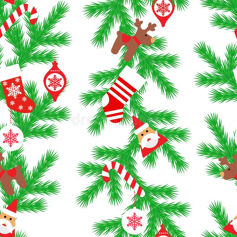 Vector seamless flat pattern with fir tree, santa claus, christmas socks, deer, candy, toys in the white background. Happy New Yea royalty free illustration