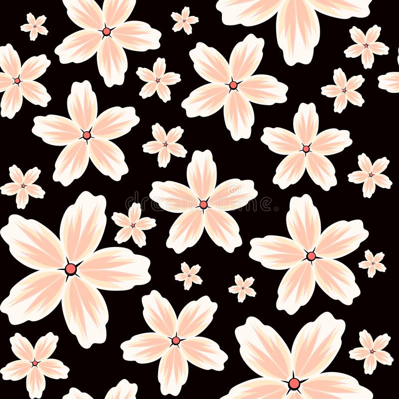 Vector seamless floral background with a pattern of large and small flowers in pastel colors on a black background. Textile Design vector illustration